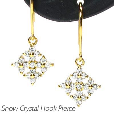 ダイヤモンド フックピアス レディース ダイヤ 雪 結晶 スノー クリスタル プラチナ pt900 0.3カラット