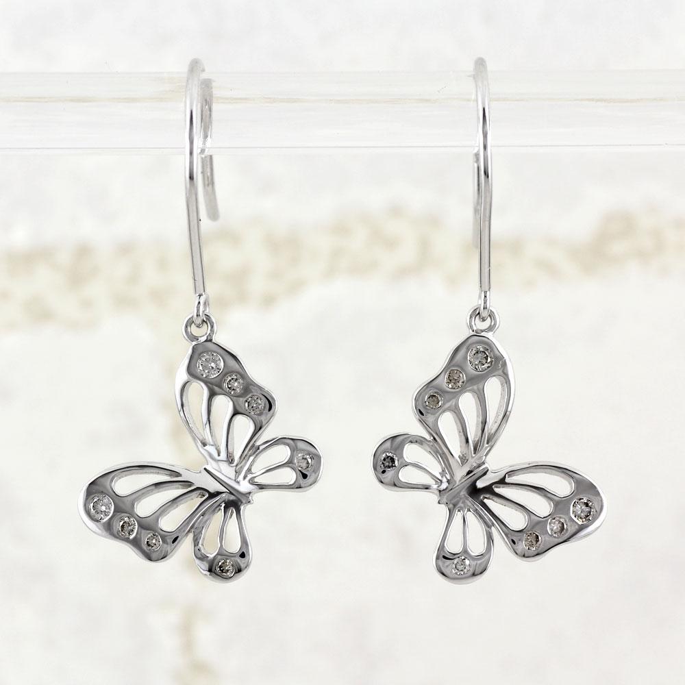 ダイヤモンド フックピアス レディース ダイヤ 蝶々 蝶 バタフライ ブラ 0.1カラット プラチナ pt900 ゆれる 透かし