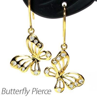 ダイヤモンド フックピアス 18k 揺れる レディース ダイヤ バタフライ 蝶々 蝶 透かし パピヨン ブラ 18金 k18 ゴールド 0.1カラット