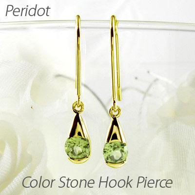ダイヤモンド フックピアス 18k 揺れる レディース ペリドット 8月 誕生石 一粒 ドロップ ペアシェイプ つゆ ブラ 18金 k18 ゴールド
