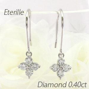ダイヤモンド フックピアス 揺れる レディース ダイヤ フラワー 花 ブラ プラチナ pt900