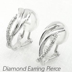 ダイヤ イヤリング ピアス ダイヤモンド レディース シンプル 地金 カーブ ウェーブ 18金 18k k18 ゴールド