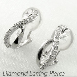 ダイヤ イヤリング ピアス ダイヤモンド レディース シンプル 地金 クロス カーブ プラチナ pt900