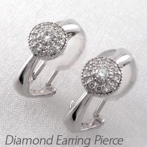 ダイヤ イヤリング ピアス ダイヤモンド レディース アンティーク ミル打ち プラチナ pt900