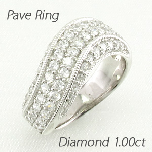 ダイヤモンド パヴェ リング 指輪 レディース カーブ ウェーブ アンティーク ミル打ち ゴージャス 1.0カラット プラチナ