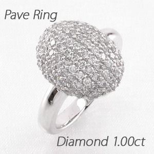 ダイヤモンド パヴェ リング 指輪 レディース オーバル ラウンド ゴージャス 1.0カラット プラチナ