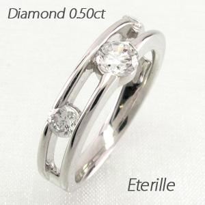 ダイヤモンド リング 指輪 レディース スリーストーン トリロジー 透かし 透き プラチナ 0.5カラット