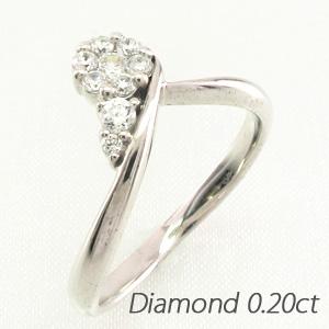 ダイヤモンド リング 指輪 レディース V字 Vライン カーブ ミステリー プラチナ 0.2カラット