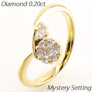 ダイヤモンド リング 指輪 レディース V字 Vライン カーブ ミステリー k18 18k 18金 ゴールド 0.2カラット