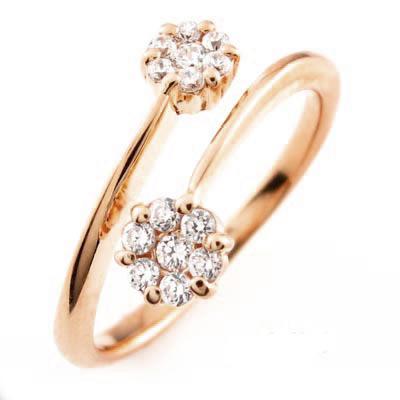 ダイヤモンド リング 指輪 レディース フラワー 花 セブンスター フォークダイヤモンド リング 指輪 C型ダイヤモンド リング 指輪 k18 18k 18金 ゴールド