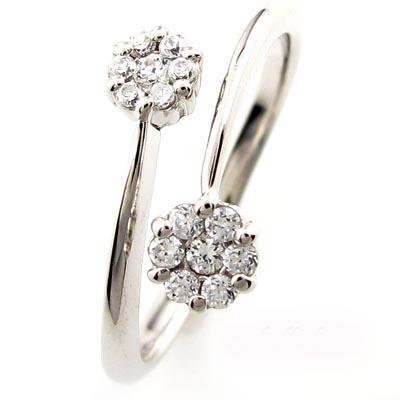 ダイヤモンド リング 指輪 レディース 花 フラワー セブンスター フォークダイヤモンド リング 指輪 C型ダイヤモンド リング 指輪 k18 18k 18金 ゴールド