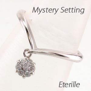 ダイヤモンド リング 指輪 レディース V字 ミステリー セブンスター フラワー 花 シンプル 揺れる スイング ブラ プラチナ