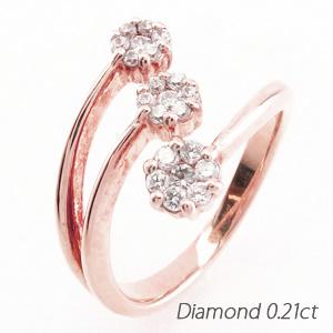ダイヤモンド リング 指輪 レディース 3連 カーブ フラワー 花 フォークダイヤモンド リング 指輪 C型ダイヤモンド リング 指輪 ミステリー セブンスター k18 18k 18金 ゴールド