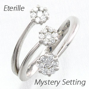 ダイヤモンド リング 指輪 レディース 3連 カーブ フラワー 花 フォークダイヤモンド リング 指輪 C型ダイヤモンド リング 指輪 ミステリー セブンスター プラチナ