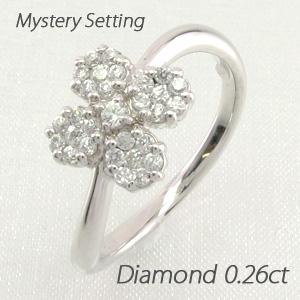 ダイヤモンド リング 指輪 レディース フラワー 花 ミステリー プラチナ
