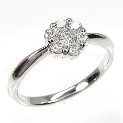 ダイヤモンド リング 指輪 レディース フラワー セブンスター ミステリー プラチナ 0.3カラット0up