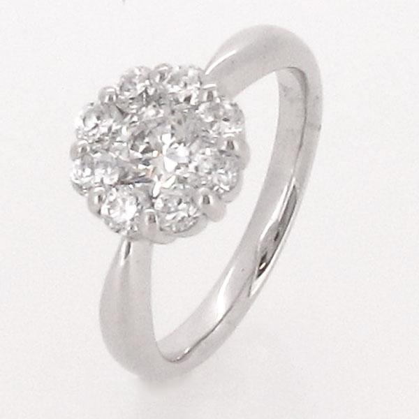 ダイヤモンド リング 指輪 レディース フラワー 花 ゴージャス ミステリーセッティング プラチナ 1.0カラット