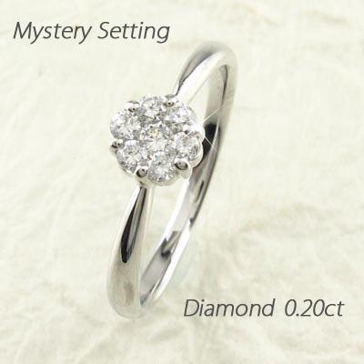 ダイヤモンド リング 指輪 レディース フラワー セブンスター ミステリー K10 10k 10金 ゴールド 0.2カラット