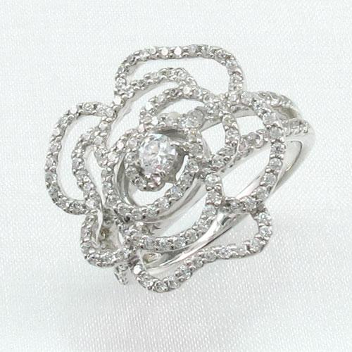 ダイヤモンド リング 指輪 レディース 薔薇 ローズ 花 ゴージャス プラチナ 1.0カラット