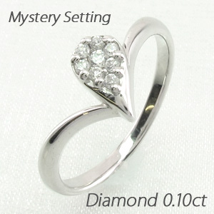 ダイヤモンド リング 指輪 レディース ドロップ 露 つゆ 雫 しずく ペアシェイプ ミステリー プラチナ 0.1カラット