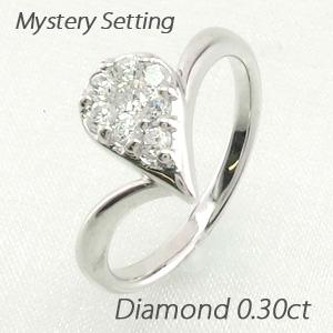 ダイヤモンド リング 指輪 レディース ドロップ 露 つゆ 雫 しずくペアシェイプ ミステリー k18 18k 18金 ゴールド 0.3カラット