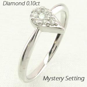 ダイヤモンド リング 指輪 レディース ドロップ 露 つゆ 雫 しずくペアシェイプ ミステリー K10 10k 10金 ゴールド 0.1カラット