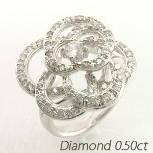 ダイヤモンド リング 指輪 レディース フラワー 花 バラ ローズ 薔薇 プラチナ 0.5カラット