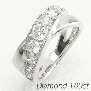 エタニティリング プラチナ ダイヤモンド ダイヤ レディース 指輪 ハーフエタニティ グラデーション 豪華 クロス X字 地金 1.0カラット