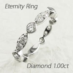 ダイヤモンド エタニティリング レディース ダイヤ 指輪 ハーフエタニティ アンティーク マーキス ゴールド k18 18k 18金 1.0カラット