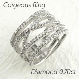 エタニティリング プラチナ ダイヤモンド ダイヤ レディース 指輪 ハーフエタニティ 豪華 5連 カーブ クロス