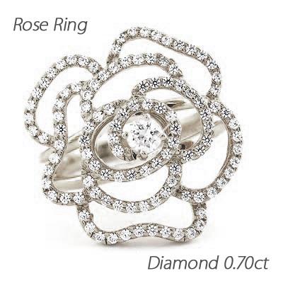 ダイヤモンド リング 指輪 レディース ローズ 薔薇 バラ フラワー プラチナ 0.7カラット