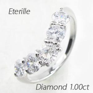 エタニティリング プラチナ ダイヤモンド ダイヤ レディース 指輪 ハーフエタニティ V字 豪華 1.0カラット
