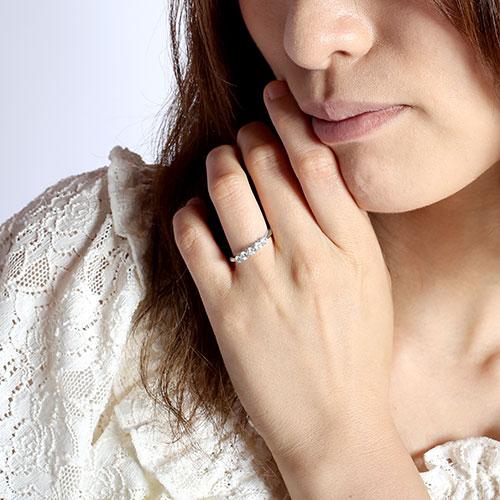ダイヤモンド エタニティリング レディース ダイヤ 指輪 ハーフエタニティ 豪華 5石 ゴールド k18 18k 18金 0 59W2IYDeHE