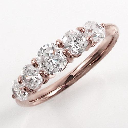 ダイヤモンド エタニティリング レディース ダイヤ 指輪 ハーフエタニティ グラデーション 豪華 ゴールド k18 18k 18金 Pゴールド k18 18k 18金G 1.0カラット
