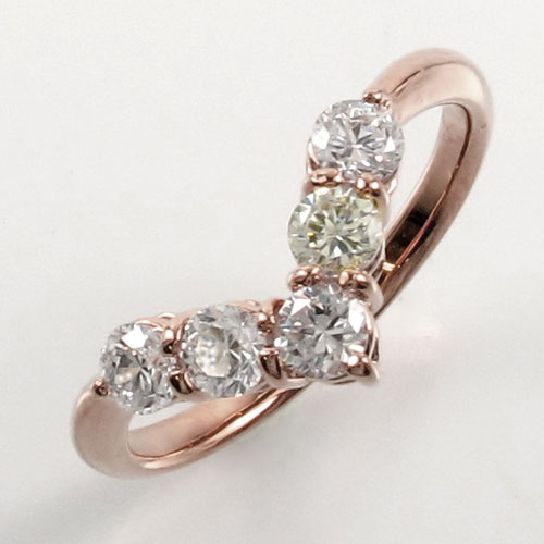 ダイヤ エタニティ リング レディース ダイヤモンド 指輪 ハーフエタニティ V字 豪華 ゴールド k18 18k 18金 0.5カラット