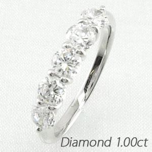 エタニティリング プラチナ ダイヤモンド ダイヤ レディース 指輪 ハーフエタニティ 豪華 5石 1.0カラット