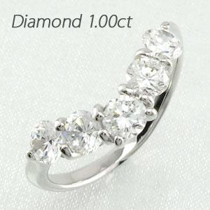 エタニティリング プラチナ ダイヤモンド ダイヤ レディース 指輪 ハーフエタニティ 豪華 V字 Vライン 5石 1.0カラット