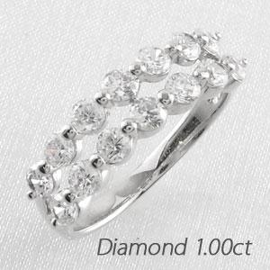 ダイヤ エタニティ リング レディース ダイヤモンド 指輪 2連 ダブル ハーフエタニティ 豪華 ゴールド k18 18k 18金 1.0カラット