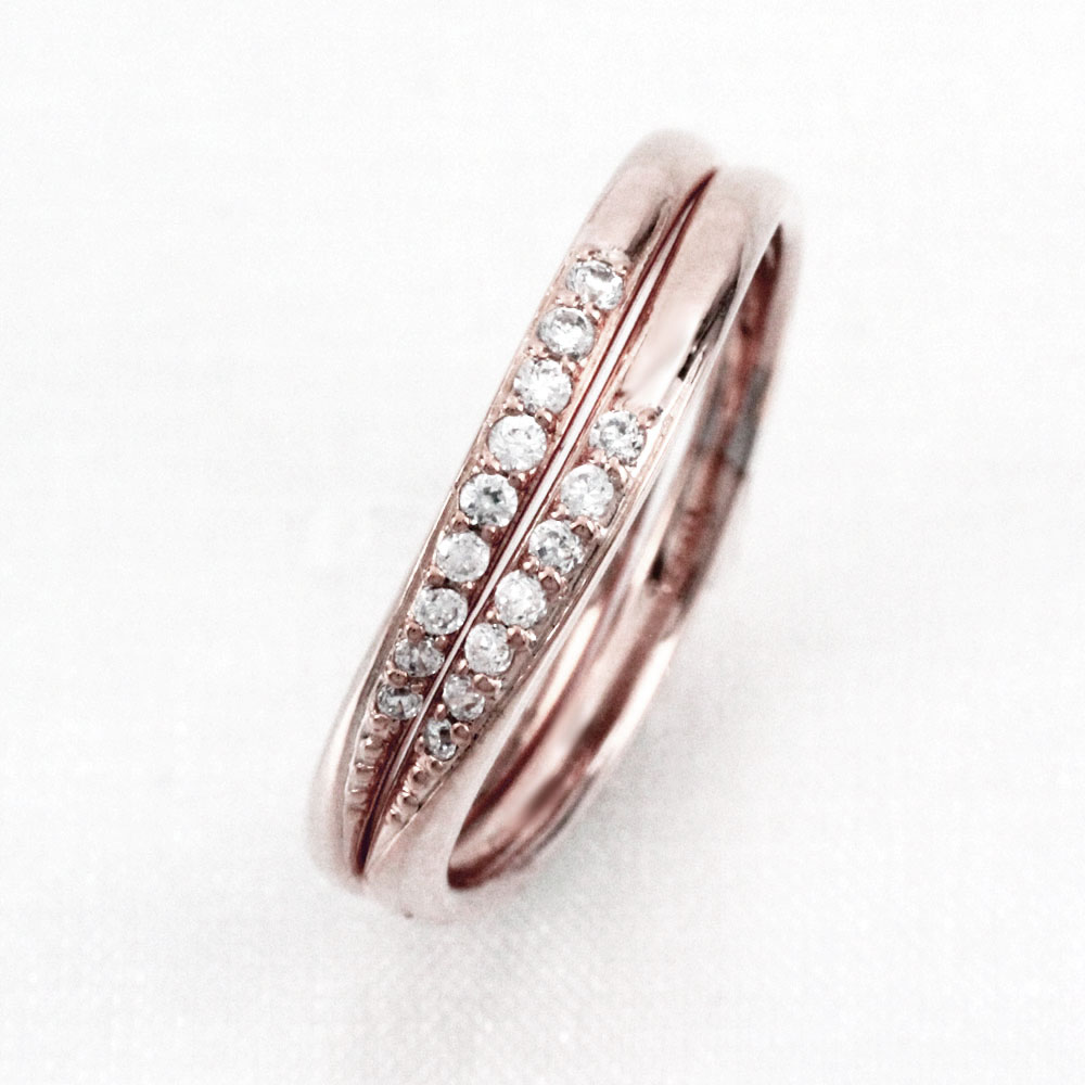 ダイヤモンド リング 指輪 レディース シンプル カーブ ウェーブ 2本 セット k18 18k 18金 ゴールド