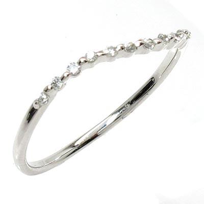 ダイヤモンド リング 指輪 レディース カーブ スレンダー シンプル プラチナ