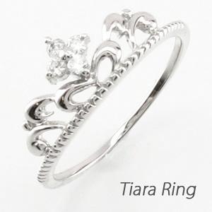 ダイヤモンド リング 指輪 レディース ティアラ クラウン 王冠 重ねづけ 華奢k18 18k 18金 ゴールド