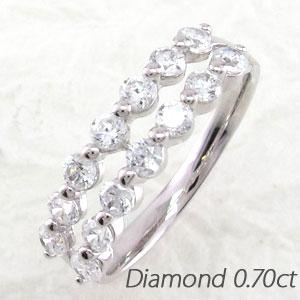 エタニティリング プラチナ ダイヤモンド ダイヤ レディース 指輪 2連 ダブル ハーフエタニティ 豪華