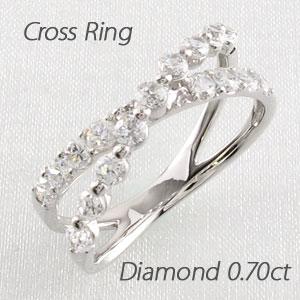 エタニティリング プラチナ ダイヤモンド ダイヤ レディース 指輪 ハーフエタニティ クロス X字 2連 ダブル 豪華