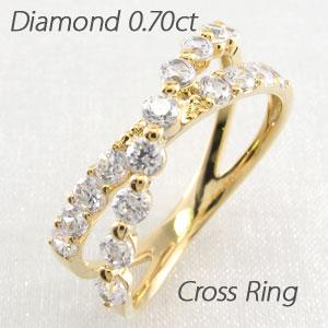エタニティリング ダイヤモンド レディース ダイヤ 指輪 ハーフエタニティ クロス X字 2連 ダブル 豪華 ゴールド k18 18k 18金