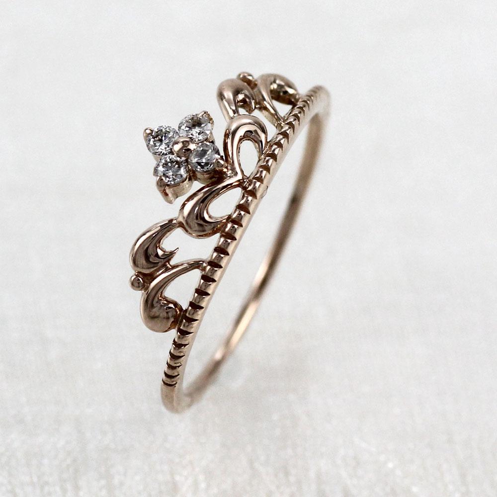 ピンキーリング ダイヤモンド ダイヤ k18 18k レディース 指輪 ティアラ クラウン 王冠 ファランジ 重ねづけ 華奢 18金 ゴールド