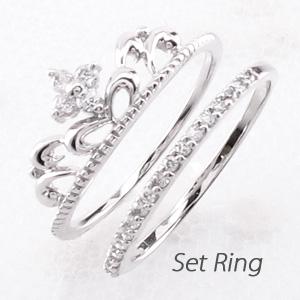 ピンキーリング ダイヤモンド ダイヤ プラチナ レディース 指輪 ティアラ クラウン 王冠 セット ファランジ 重ねづけ 華奢