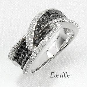 ブラックダイヤモンド リング 指輪 レディース パヴェ カーブ ウェーブ ゴージャス k18 18k 18金 ゴールド
