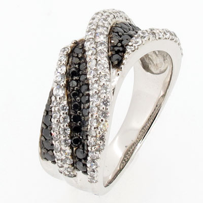 ブラックダイヤモンド リング 指輪 レディース パヴェ ウェーブ コンビ プラチナ