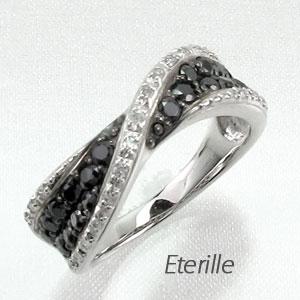 ブラックダイヤモンド リング 指輪 レディース パヴェ カーブ ウェーブ ゴージャス プラチナ