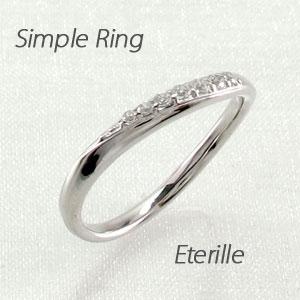 ピンキーリング ダイヤモンド ダイヤ プラチナ レディース 指輪 ピンキー シンプル カーブ ウェーブ
